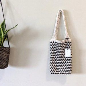 New Studio Collection Macrame Beaded Tote Bag